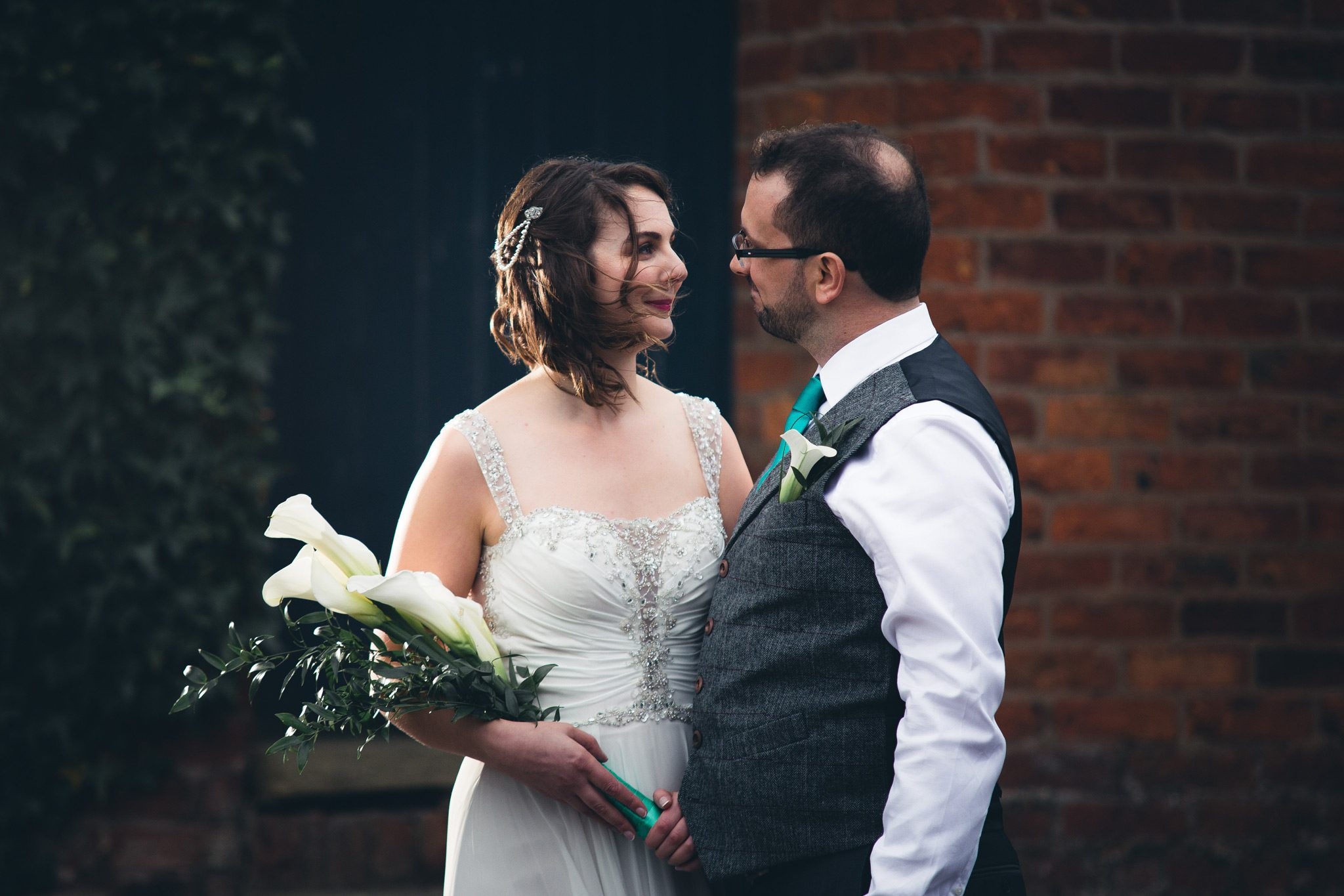 Manchester wedding with bride and groom at Castlefield Rooms