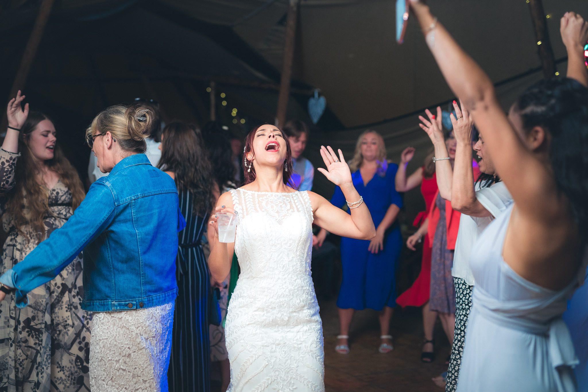 Bride dancing away